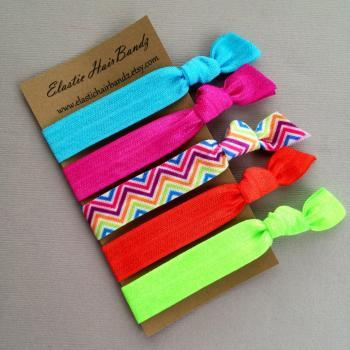 The Brandy Hair Tie-Ponytail Holder Collection - 5 Elastic Hair Ties by Elastic Hair Bandz on Etsy