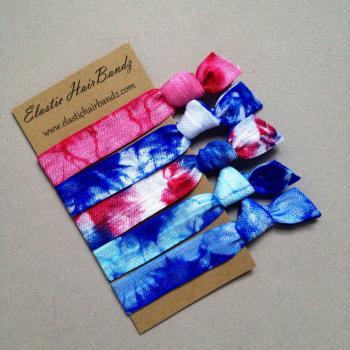 The America Tie Dye Hair Tie-Ponytail Holder Collection - 5 Elastic Hair Ties by Elastic Hair Bandz on Etsy
