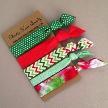 The Nicolette Holiday Hair Tie-Ponytail Holder Collection - 5 Elastic Hair Ties by Elastic Hair Bandz